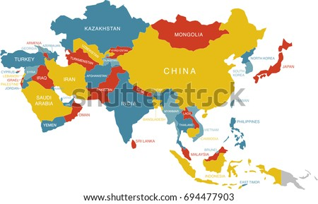 Colorful Map Asia Labeled Labels Separate Stock Vector Royalty Free