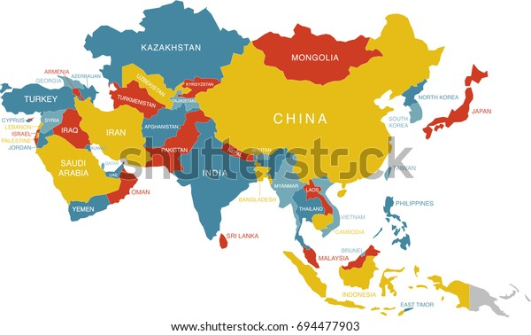 Colorful Map Asia Labeled Labels Separate Stock Vector ...