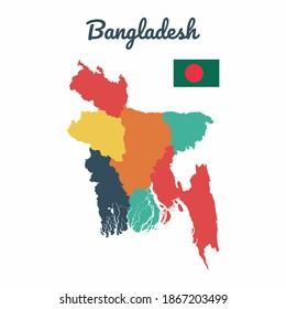 Colorful map of Bangladesh, Flag Of Bangladesh, Vector Infographic Map Eps 10