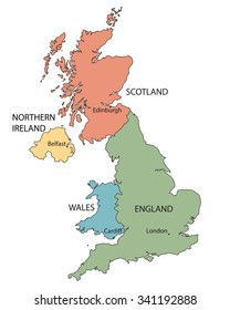 colorful map of countries of United Kingdom with indication of c