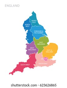 Colorful map of England