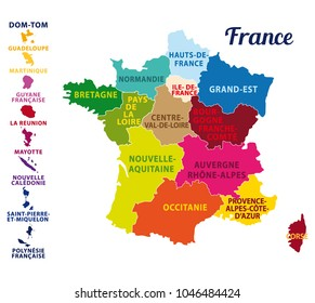 Colorful map of France with french islands and new regions. French names. Vector illustration.