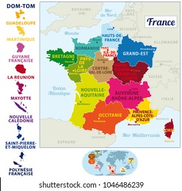 Colorful map of France with french islands, new regions and capitals. French names. Vector illustration III.