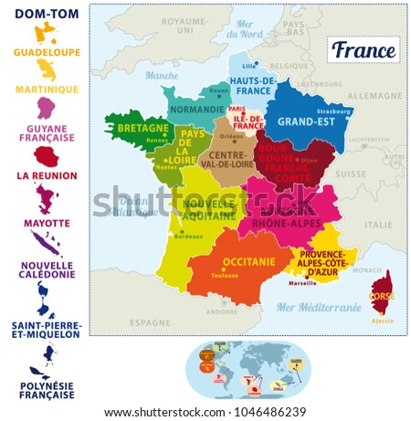 Colorful Map France French Islands New Stock Vector (Royalty Free ...