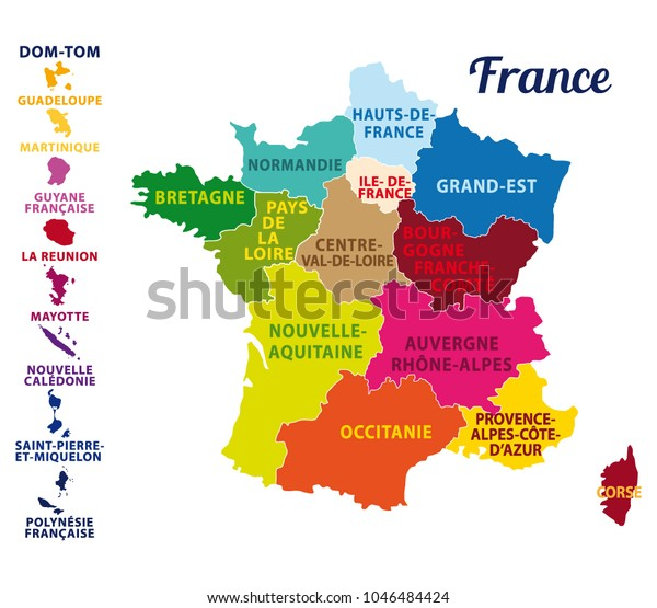Map Of France In French.Colorful Map France French Islands New Stock Vector Royalty Free
