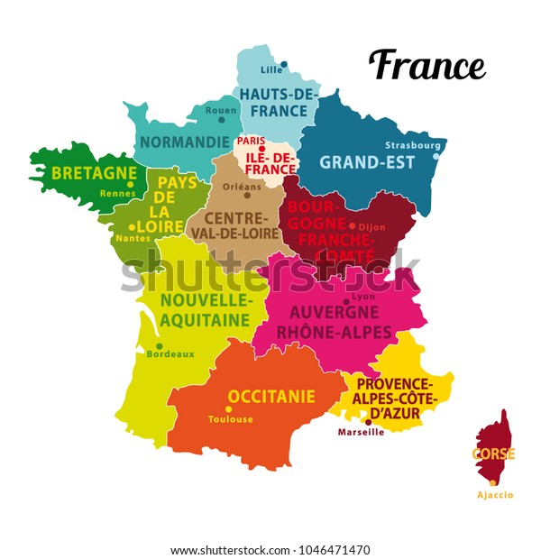Image Vectorielle De Stock De Carte Coloree De La France Avec 1046471470