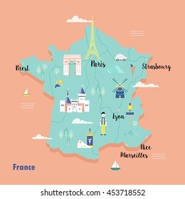colorful map of france in retro style with landmarks the eiffel tower the metro
