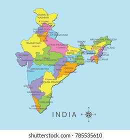 Colorful map of India with capital city on blue background.
