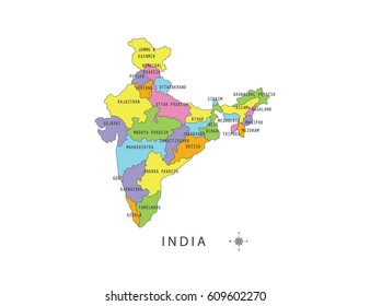 Colorful Map India Local Names On Stock Vector (Royalty Free ...