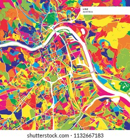 Colorful map of Linz, Austria. Background version for infographic and marketing projects. This map of Linz, contains typical landmarks with streets, waterways and railways.