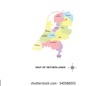 Colorful map of Netherlands vector illustration on white background