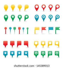 Colorful Map Pins. Isolated on White Vector Illustration.