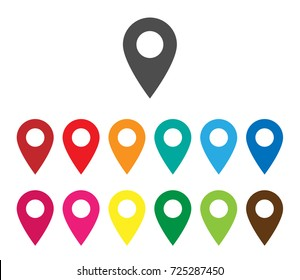 Colorful map pointer icon. Colorful pointer Isolated on white background. Navigation map, GPS, Colorful map pointer icon for graphic design, map logo, mobile app logo, EPS8