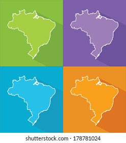Colorful map silhouette with shadow - Brazil