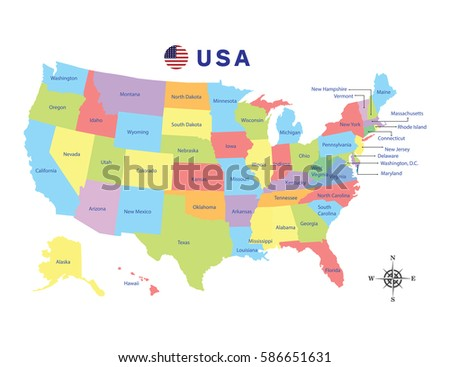 Colorful Map Of Usa.Colorful Map United States America On Stock Vector Royalty Free