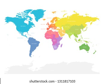 Colorful map of World doivided into regions. Simple flat vector illustration.