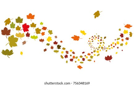 colorful maple leafs silhouette in autumn wind