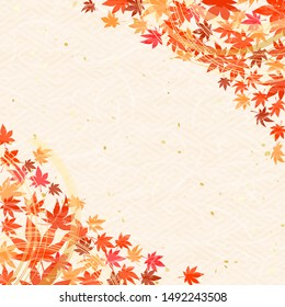 Colorful maple leaves, Japanese string decoration called Mizuhiki