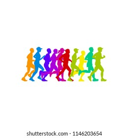 colorful marathon run event logo template with running people illustration, vector eps 10