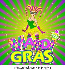 Colorful Mardi Gras girl design