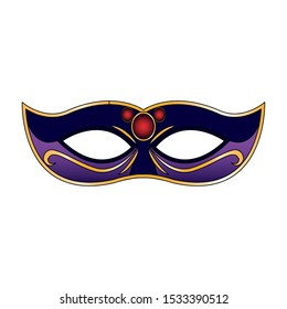 colorful Mardi gras mask icon over white background, vector illustration