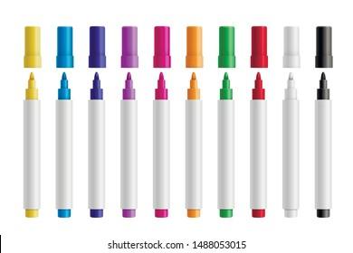 Farbige Markierstifte setzen Vektorgrafik realistisch. Kinder und Künstler Stifte 3D isolierte Clip Arts Pack. Kinder lebhafte Malwerkzeuge, verschiedene Farbpalette. Design-Elemente von Office-Highlightern