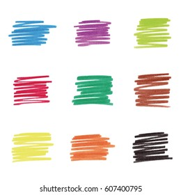 Colorful marker stains, vector illustration