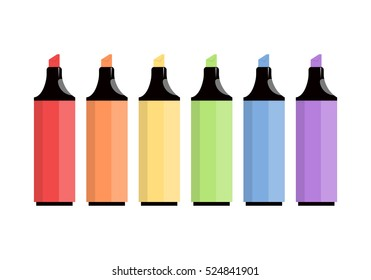 Colorful markers isolated. Set of markers on a light background. Six colored markers. Icons markers. Vector illustration.