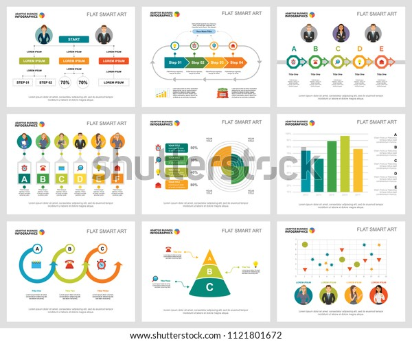 Colorful marketing or consulting concept infographic charts set. Business design elements for presentation slide templates. Can be used for annual report, advertising, flyer layout and banner design.