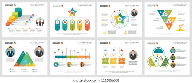 Colorful marketing or insurance concept infographic charts set. Business design elements for presentation slide templates. Can be used for financial report, workflow layout and brochure design.