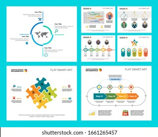 Colorful marketing or management concept infographic charts set. Business design elements for presentation slide templates. For corporate report, advertising, leaflet layout and poster design.