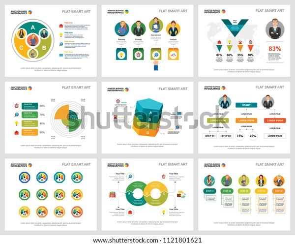 Colorful marketing or training concept infographic charts set. Business design elements for presentation slide templates. For corporate report, advertising, leaflet layout and poster design.