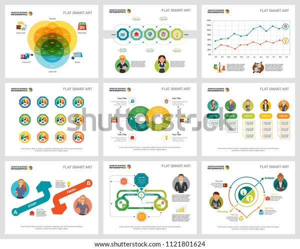 Colorful marketing or training concept infographic charts set. Business design elements for presentation slide templates. Can be used for financial report, workflow layout and brochure design.