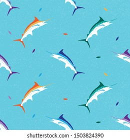 colorful marlin fish seamless pattern with grunge backround