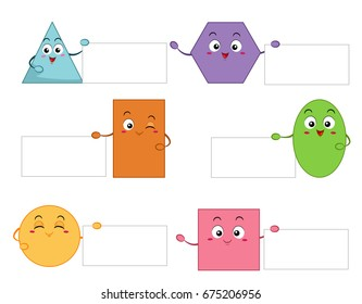 Colorful Mascot Illustration Featuring Basic Geometric Shapes Presenting Blank Pieces of Paper