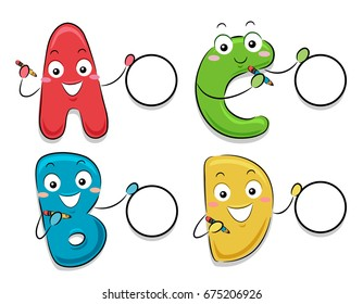 Colorful Mascot Illustration Featuring Letters of the Alphabet Encouraging Test Takers to Pick Them