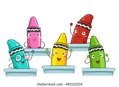 Colorful Mascot Illustration Featuring Primary Color Crayons Attending Class Together