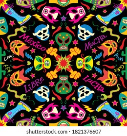 Colorful masks and symbols form a traditional pattern in homage to Mexican wrestling. Snakes, cactus, fists, boots, hearts, stars, skulls, hats, chili peppers and lightning bolts in mandala style