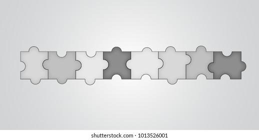 Colorful Material Design Puzzles Pieces. Puzzle elements