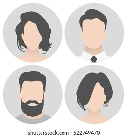 Colorful material vector people avatar (man and woman) in circle. People with a beautiful hairstyle