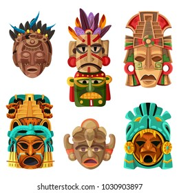 Colorful mayan mask cartoon set with native  ethnicity tribal and religious decorative elements isolated vector illustration