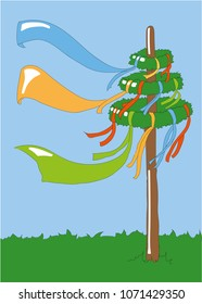 colorful maypole. flags with copy space.