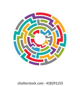 Colorful maze circuit. vector graphic illustration