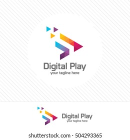 Colorful media play logo design with colorful triangle pixel.
