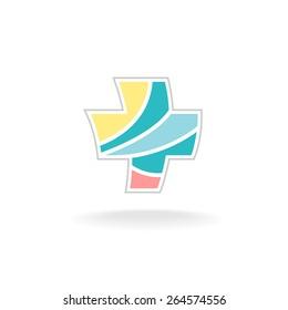 Colorful medicine cross motion logo template
