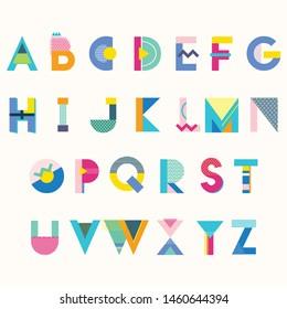colorful memphis style alphabet vector design