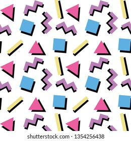 Colorful Memphis-style pattern. Seamless, infinite, and repeating. Great for zine culture, party invitations, and background wallpaper.