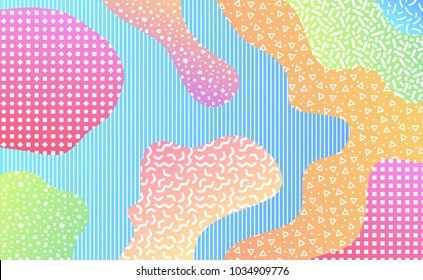 Colorful mempis design background with various pattern elements. 80's abstract retro backdrop.  Vector illustration for your graphic design.