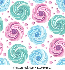 Colorful meringues zephyrs pastries cream on the white background. Dessert. Sweets and candies. Vector seamless pattern.