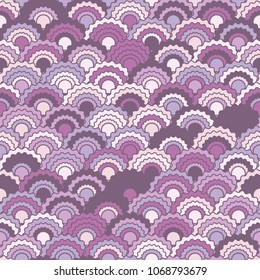 Colorful mermaid scales squama background, vector seamless fabric pattern, tiled textile print. Typical japanese squama scales seamless arc tiles ornament. Roof pattern.